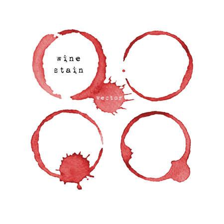 Wijnvlek. Wijnglas merk op een witte achtergrond. Vector illustratie.