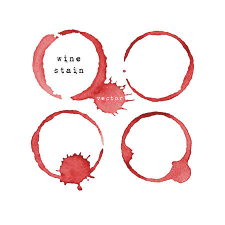 glass with red wine: Wine stain. Wine glass mark isolated on white background. Vector illustration.