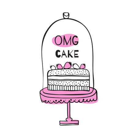 glass topped: Greeting card with quote about cakes. OMG cake