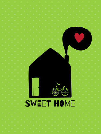 sweet heart: Greeting card. Sweet  home. Illustration