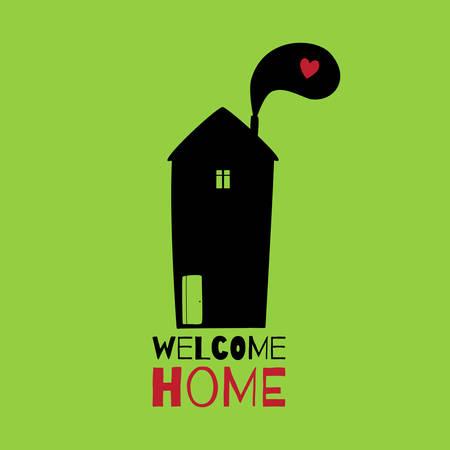 인사말 카드. 집에 오신 것을 환영합니다.