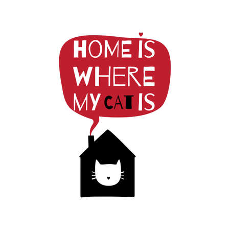 bubble speach: Romantic greeting card with quote about home. Home is where my cat is.