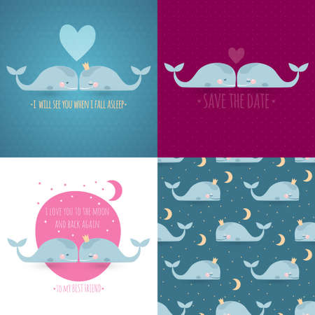 4 romantic greeting cards with sleeping whales, moon & stars. Vector