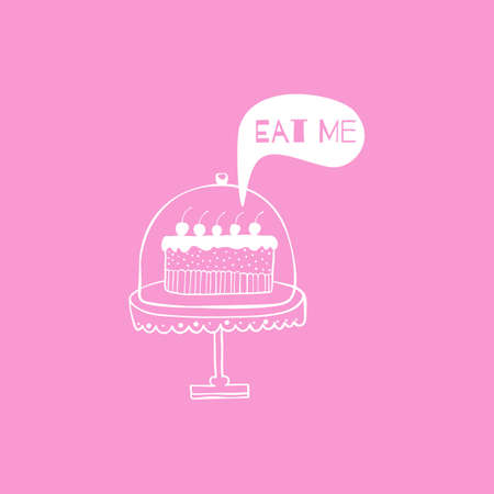 Vector greeting cardposter with cake.  Hand drown illustration. Sketch. Banner for event or party . Easy to edit. Use for invitations announcements. Decorative elements for cards, gifts, crafts.