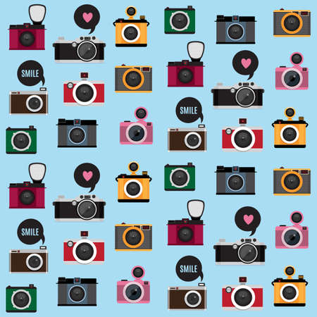 speech bubble: Seamless pattern with photo camera icons. Flat design vector stylish illustration with modern colors. Isolated.