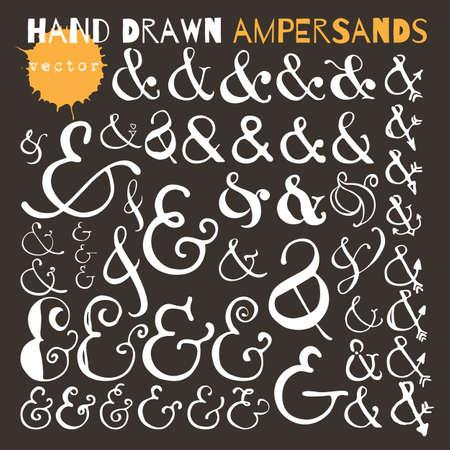 Set of hand drawn ampersands. Ink illustration. Illustration