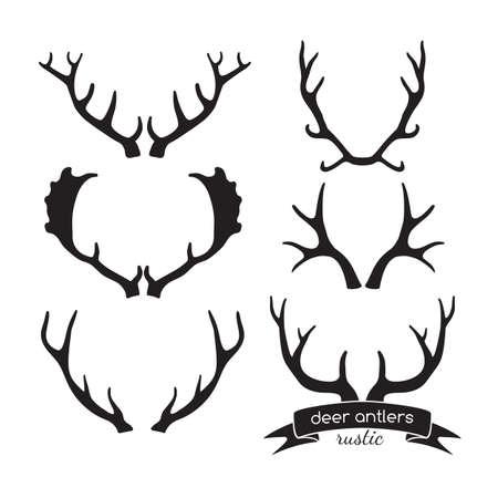 손으로 그린 빈티지 antlers입니다. 소박한 장식 벡터 디자인 요소입니다. 일러스트