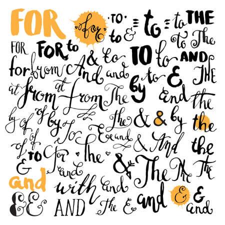 벡터 손으로 그린 앰퍼샌드 및 catchwords. with, from, and, at, by, for, of, from, to. 흰색 배경에 고립 된 손 글자.