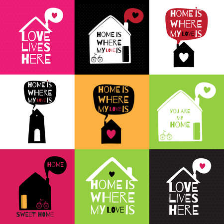 Romantic greeting card with quote about home and love. Set of 9 postcards/stickers about love and home. Illustration