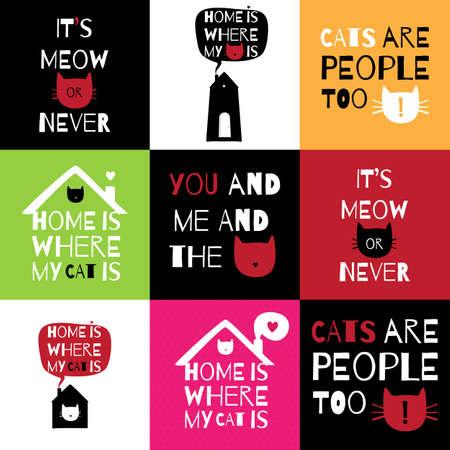 집, 사랑, 고양이에 대한 견적 로맨틱 인사말 카드입니다. 9 엽서  스티커  T 셔츠  배너의 집합 사랑, 집 고양이에 대한 설계.