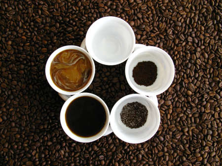 Different stages of coffee preparation photo