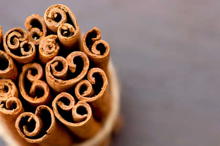Bunch of cinnamon bark  sticks  close up photo