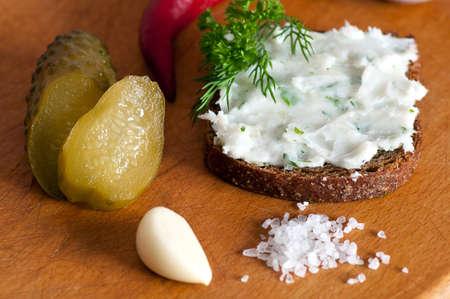 lard: Lard spread with garlic, parsley and dill
