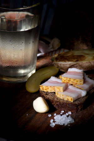 misted: Sandwich with salted lard served with onion, cucumber, garlic and misted glass of vodka Stock Photo