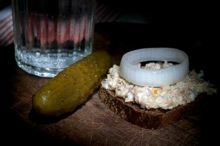 rye bread: Forshmak (minced herring) on rye bread, light brush Stock Photo