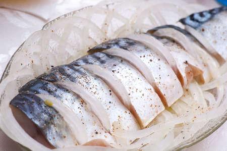 In Essig eingelegte Makrele (Scomber), serviert mit Scheiben geschnittene Zwiebel Lizenzfreie Bilder