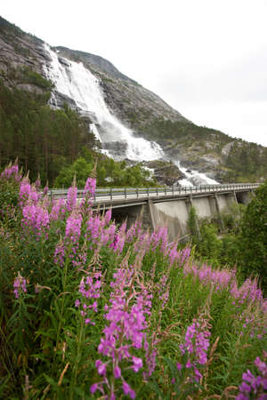 Norwegian landscape with waterfall, bridge and mountains photo
