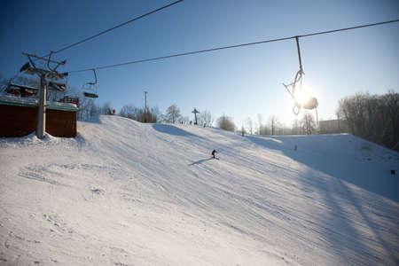 sigulda: Ski lift over snowy mountain, Sigulda, Latvia, Baltic States, Europe
