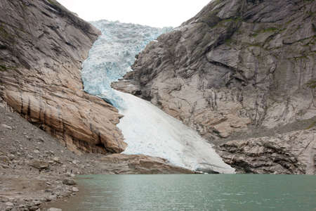 jostedal: Jostedal glacier falls in to fjord,  Norway, Scandinavia, Europe