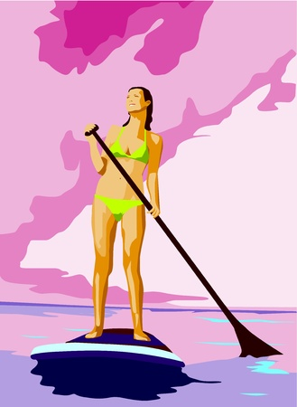 surfen: Girl on Stand up paddling on a lake