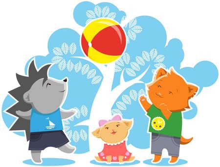 girls having fun: Children Game Illustration