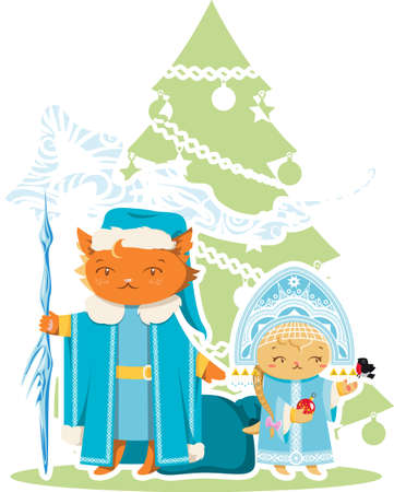 moroz: Cat and Kitten Happy New Year Illustration