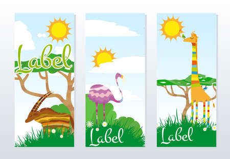African Animals Banners Vector