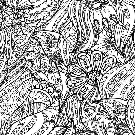 Pattern with Owls in the Forest