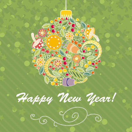 Card with intricate Christmas tree ball of flowers and berries Illustration