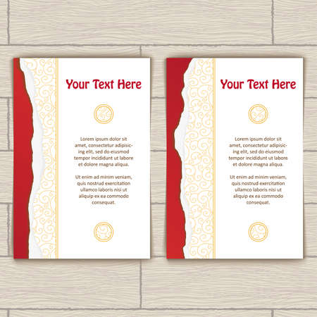 wite: Cards with red ragged edge and gold stamping