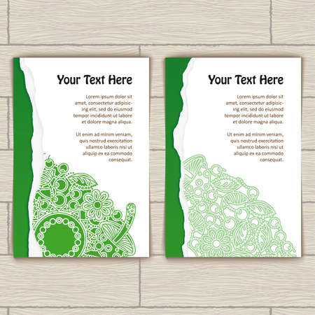 Cards with green ragged edge and green round pattern Vector