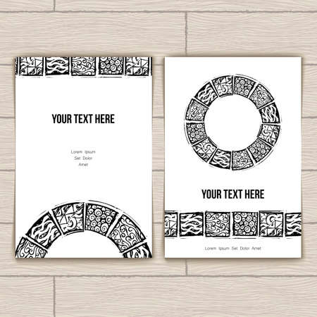 business invitation: Set of business cards with block patterns Illustration