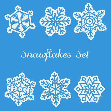 blue icon: Set of six different snawflakes on blue