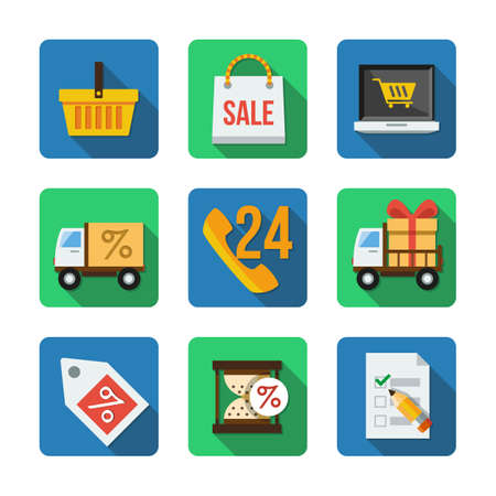 Nine different square icons in a flat style Vector