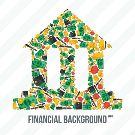 Collage in the form of bank financial elements Vector