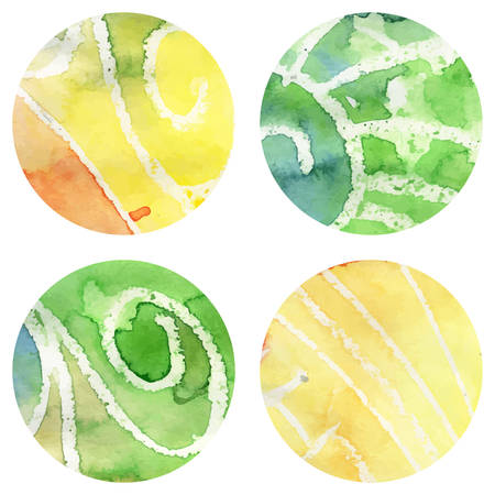 Set of Grunge Watercolor Circles with Wax Vector