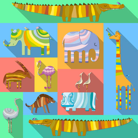 Set of Flat Icons with African Animals Vector