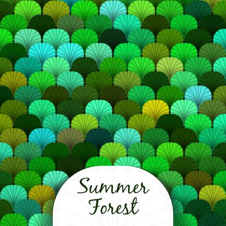 Summer forest scaly texture in different shades of green Vector