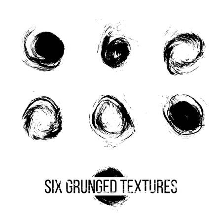 grunged: Set of six grunged dots by painbrush and ink Illustration
