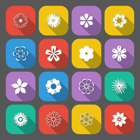 Set of floral buttons in a flat style with long shadows