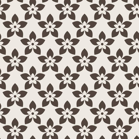 five petals: Seamless vector abstract floral pattern of flowers with five petals