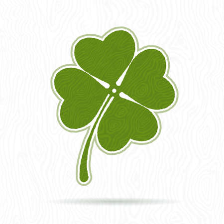 Symbol of clover with four petals on the background texture Vector
