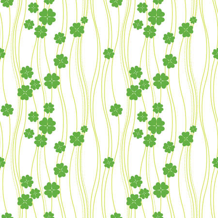 Intricate colorful seamless texture with clover with four leaves Vector