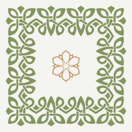 Vector decorative frame in the Celtic style with a decorative flower in the center