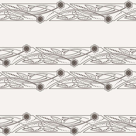 Vector seamless pattern of ornaments in Celtic style with decorative flowers