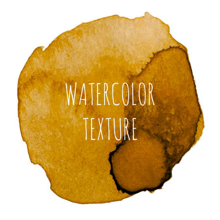 ocher: Ocher watercolor background with swirls and the inscription