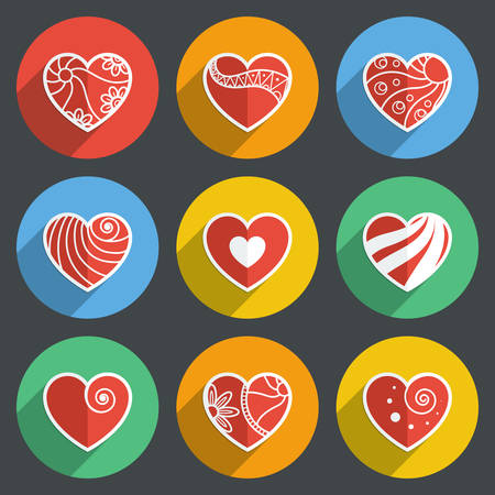 14th: Set of Flat Heart Icons on Random Background with Long Shadow