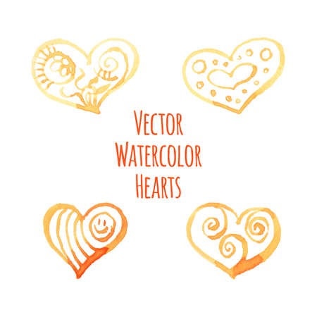 allegory painting: Set of watercolor hearts on a transparent background