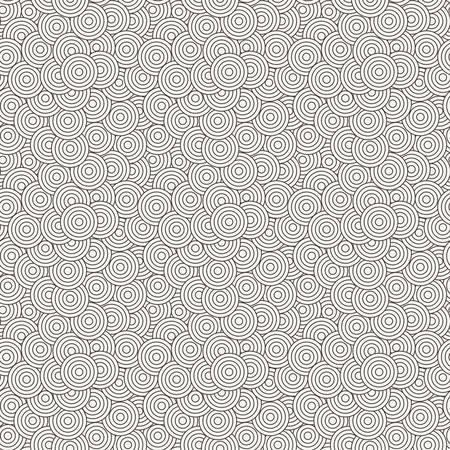 randomly: Vector seamless pattern of concentric circles superimposed randomly Illustration