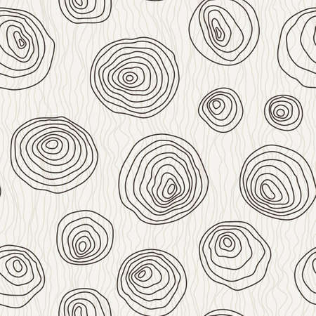 Vector seamless pattern of the curves manually drawn concentric circles Stock Illustratie